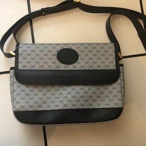 Vintage Gucci Monogram Crossbody Bag Navy